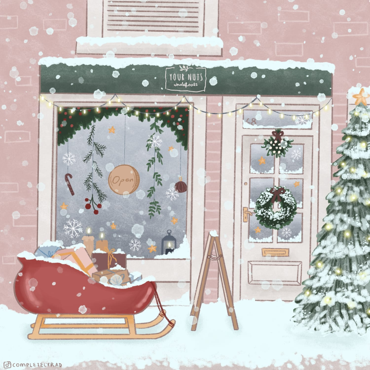 You Nuts Christmas illustration of shop front in Holmfirth, Huddersfield